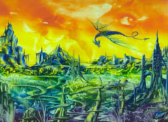 Encaustic Art - Dragon Castle